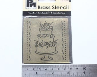 Destash Item - *Never Used* Papermania Wedding Cake Brass Stencil For Cardmaking Scrapbooking Wedding