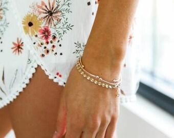 Disc Chain Bracelet, 14k Gold Fill Bracelet, Disc Bracelet, Minimalist, Gold Bracelet, Bridesmaid Gift