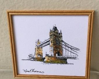 Dollhouse Miniature Noel Thomas Ink Sketch of Tower Bridge, London (NM)