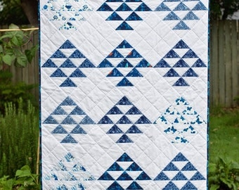 Blue Triangles Organic Quilt - Moody Blues - Blue and White - Quilt - Butterflies - Navy
