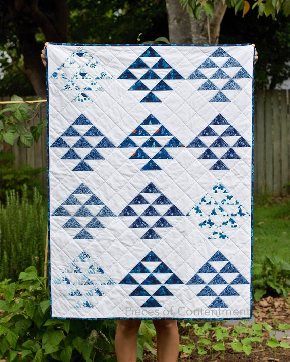 Blue Triangles Organic Quilt