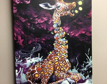Giraffe Art Canvas - Gilclee Print -Electric Lime Wiggles by Black Ink Art - Surreal Animal Art