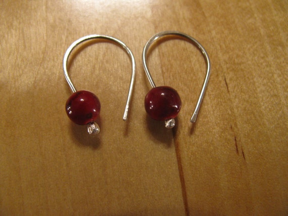 Red Quartzite and Sterling Silver Handmade/Hand Forged Dangle Earrings-Toniraecreations