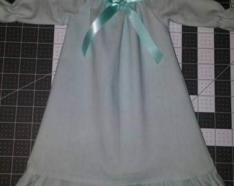 "Girls Aqua Cotton or Flannel Nightgown with option of Matching 18"" Doll Gowns"