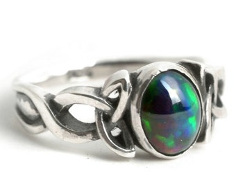 opal engagement ring sterling silver celtic knot ring opal celtic ring opal wedding - Black Opal Wedding Rings