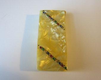 Vintage Art Deco Celluloid Box 1930s Pearlized Gold Manicure Item Holder
