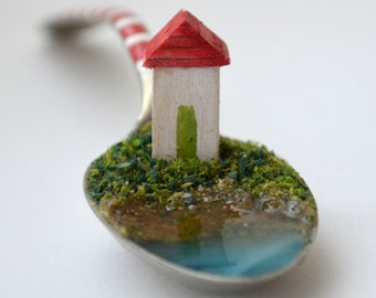 Tiny wooden house, miniature, vintage English teaspoon, wedding gift, seaside, sculpture, ornament, decoration, christening gift, new home