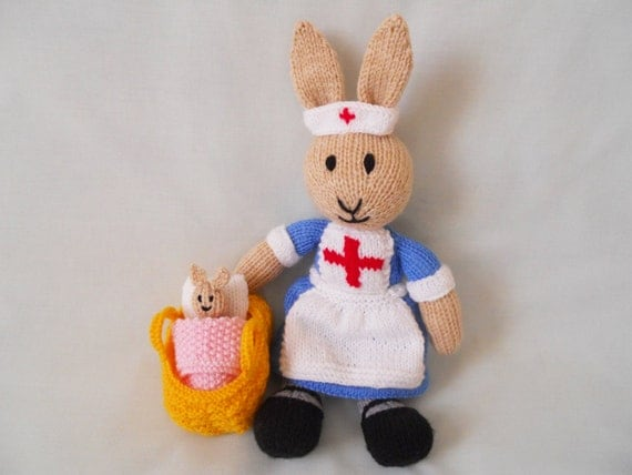 Toys R Us Hand Basket : Rabbit hand knitted millie the nurse bunny handmade