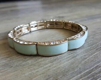 Mint Green Rhinestone Bracelet