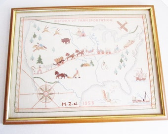 History of Transportation Mid Century Needlepoint 1956 Map of the United States Handcrafted Folk Art Grandma's House Wall Hanging