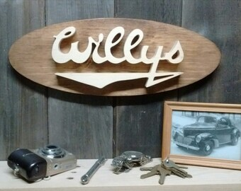 Willys Emblem Oval Wall Plaque-Unique scroll saw automotive art created from wood.