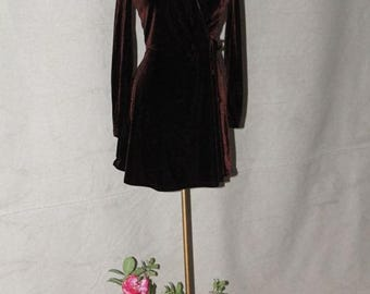 FABULOUS 50% Off SALE Sexy Chocolate Brown Stretch Velvet High Waist Faux Wrap Mini Dress by RAMPAGE made in Usa