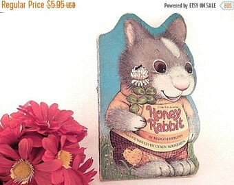 Honey Rabbit Children's Animal Picture Story Vintage 1982 Golden Sturdy Shape Book by Margo Hopkins for Preschoolers & Toddlers