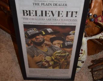 Cleveland Cavaliers 2016 NBA Champions Custom complete framed newspaper rustic solid cedar dark finish