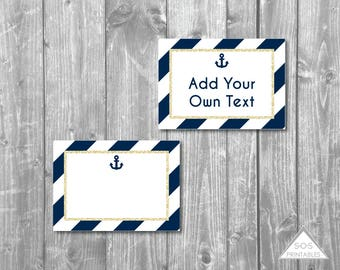 Navy and Gold Anchor Labels, Buffet Labels, nautical labels, Printable Labels, Editable PDF, DIY Party, Printable Party Labels