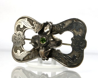 Antique Victorian Brooch Sash Pin Flower With Green Stone