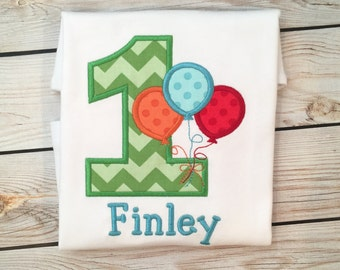 Boys or girls birthday balloon number embroidered shirt or onesie, Boys balloon shirt, girls balloon birthday name shirt, number shirt
