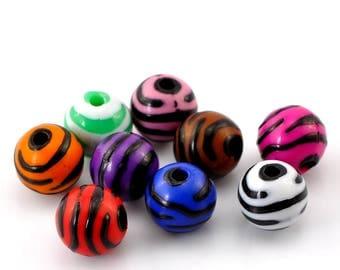 Acrylic Beads: Colored Zebra Print Balls, Set of 20, 12mm, Acrylic Zebra Beads, Safari Print Beads, Spacer Beads, Animal Print, ACB046