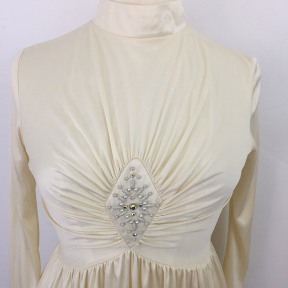 Vintage maxi silky cream jersey diamante pearl studded 1970s does 1940s glam red carpet vintage wedding alternative bride disco UK 14 Biba