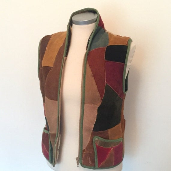 1970s suede waistcoat 70s boho vest patchwork leather festival tunic zip up sleeveless bomber sheepskin lined UK 10 hippy