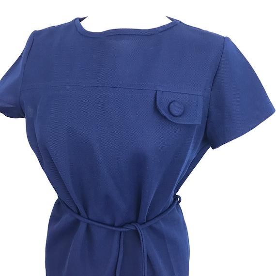 Vintage dress 1960s Mod dress navy blue crimplene GoGo shift dress UK 12 14 quant style minidress scooter girl crimplene straight cut