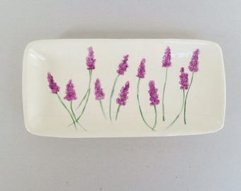 Purple lavender ceramic sushi serving plate, medium botanical texture earthenware pottery rectangle dish, functional or decorative dish