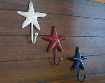 Starfish Wall Hook Set / Metal Wall Hangers / Bathroom Towel Hooks / Beach Cottage Chic / Robe Hangers / Pick Your Colors / Sea Accent