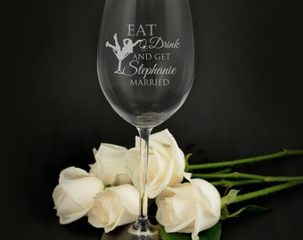 Engraved Hens Party 360ml Wine Glasses