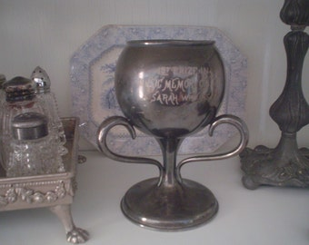 Antique Silverplate Trophy - silver plated - loving cup - award