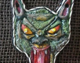 Polymer,werewolf,charm,horror,monster,wolf jewelry,necklace,pendant,gothic,animal,talisman,strange gift,clay,craft,art