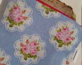 Vintage Rose (food safe) Lined, Reusable & Washable Zippered Bags (3 sizes)