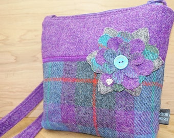 Purple checked HarrisTweed across the body bag with flower