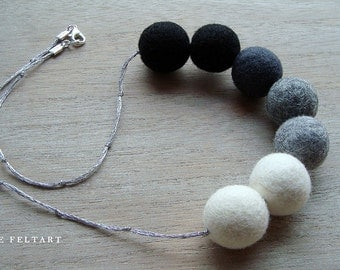 Grey Statement Necklace, Black Necklace, White Necklace,Felt Balls, Wool Necklace, Unusual Jewelry, Wool Jewelry