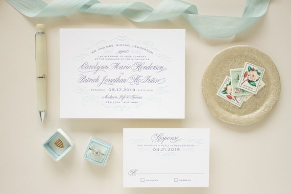 Letterpress Wedding Invitations, Navy Letterpress Printing Blue Edge Painting, Invitation Suite Thick Paper, Letterpress Invite SAMPLE