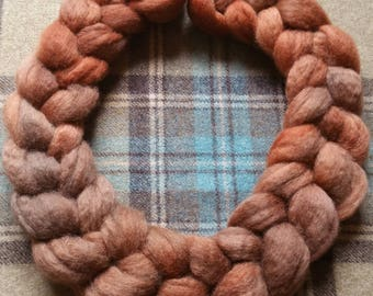 Cobnut - Hand dyed Bluefaced Leicester BFL top fibre for handspinning or felting in gingersnap shades