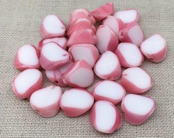 10 Vintage Slice White Pink German Glass Beads 10mm