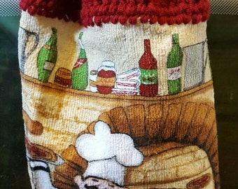 Crochet wine chef Oven towels.  Made by Bead Gs on Etsy. Crochet top towels. Wine design.