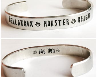 Dog mom or cat mom personalized metal stamped hand stamped aluminum cuff bracelet for pet owners