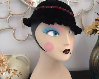 Strawbridge and Clothier Black Velvet Hat