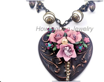 Big and Bold Rose Heart Antiqued Brass Necklace with charms, crystals, Howling Dog Jewelry