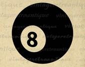 Eight Ball Graphic Printable Download Digital Billiards Pool Image Vintage Clip Art Jpg Png Eps  HQ 300dpi No.4006