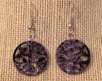 Silver HandPainted Black,Purple&White Vine Earrings