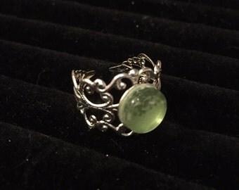 10mm Green Filigree Adjustable Ring