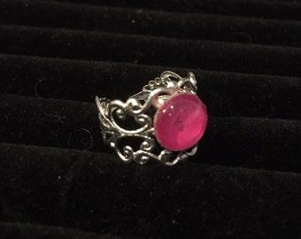 10mm Pink Filigree Adjustable Ring