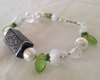Anne Choi Handcrafted Lily of the Valley Sterling Silver Bracelet with Crystals & Pearls