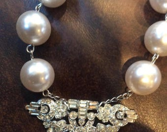 Oversize Pearl and Rhinestone  Dress Clip Necklace