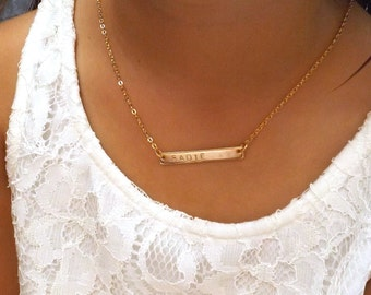 Children's silver rose gold gold custom name bar necklace, flower girl necklace, kids name necklace, flower girl gift, kids ID necklace