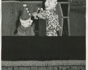 Clown puppet show doll toy theater vintage photo