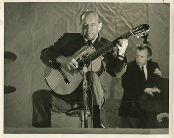 Jazz band guitar player on stage vintage photo