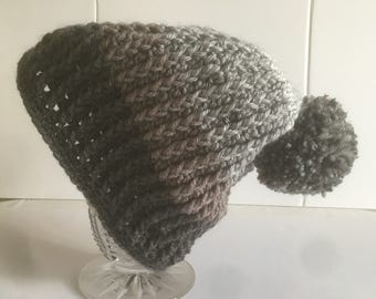 Unisex Slouch hat, Cable Crochet Hat, Adult Winter Hat, Gifts for Him, Gifts for Her,